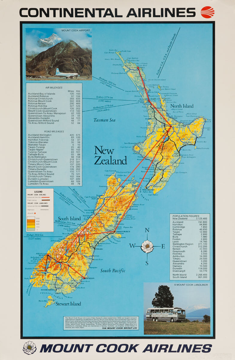 Continental and Mount Cook Airlines Original Travel Poster New Zealand Map