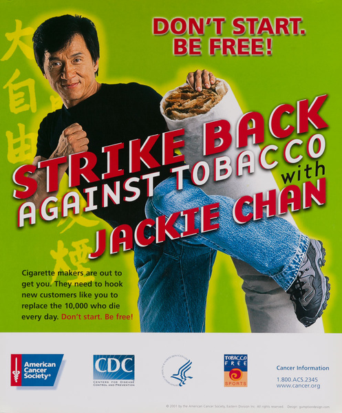 Strike Back Against Tobacco With Jackie Chan, , Original Center For Disease Control Public Health Poster