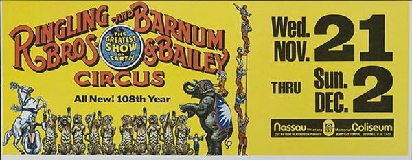 Ringling Brothers Barnum Baily Circus 108th Year Subway Card Advertising Poster