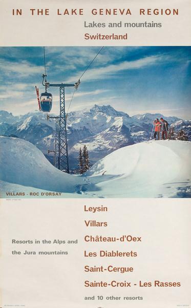 In The Lake Geneva Region, Original Swiss Travel Poster