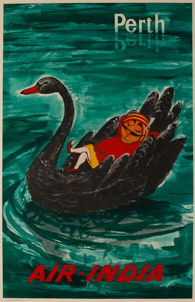 Air India Original Travel Poster, Perth Black Swan