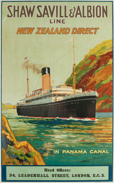 Shaw Savill & Albion Line - New Zealand Direct, In Panama Canal, Original Cruise Line Travel Poster