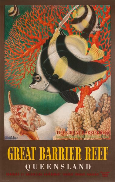 Original Australian Travel Poster, Great Barrier Reef Queensland