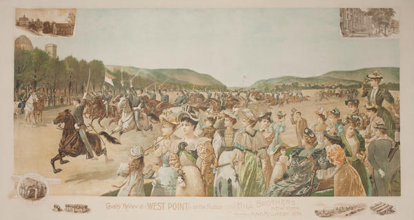 Cavalry Review at West Point On the Hudson, Hill Brothers Fine Millinery Original American Advertising Poster