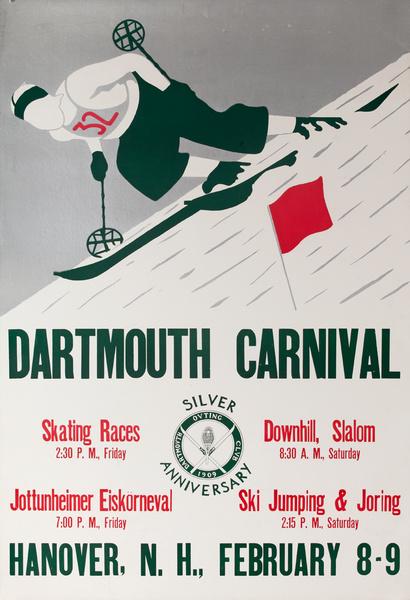 Dartmouth Winter Carnival Original American Ski Poster, Silver Anniversary