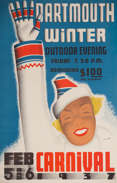 Dartmouth Winter Carnival 1937<br>American Ski Poster with ticket information