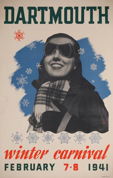 Dartmouth Winter Carnival Original American Ski Poster , 1941 Smallman