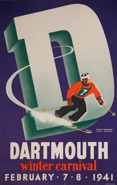 Dartmouth Winter Carnival Original American Ski Poster, 1941 Samuelson