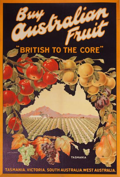 "Buy Australian Fruit, ""British to the Core"", Original Produce Advertising Poster"