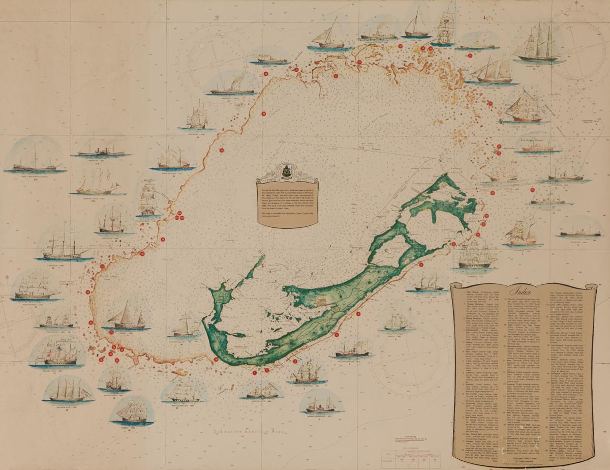 A Shipwreck Map of Bermuda, Original Souvenir Poster