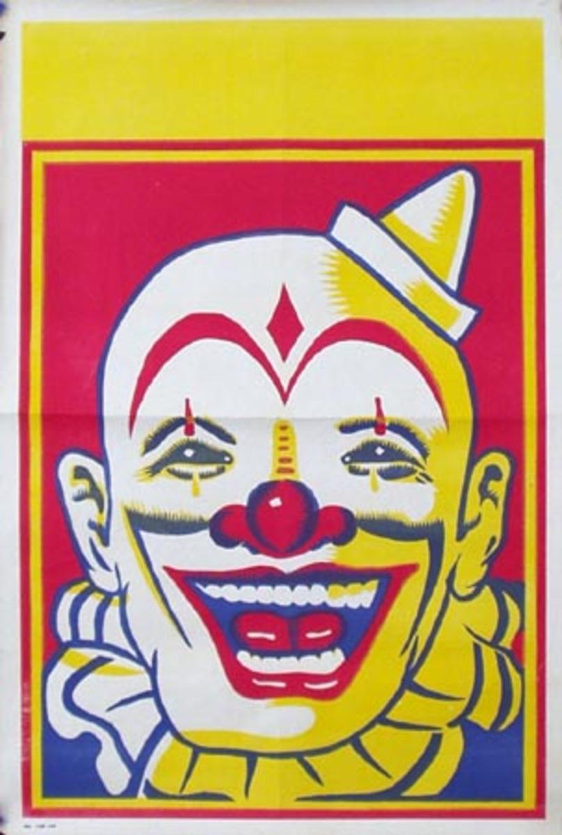 Stock Original Vintage Circus Poster Clown Face