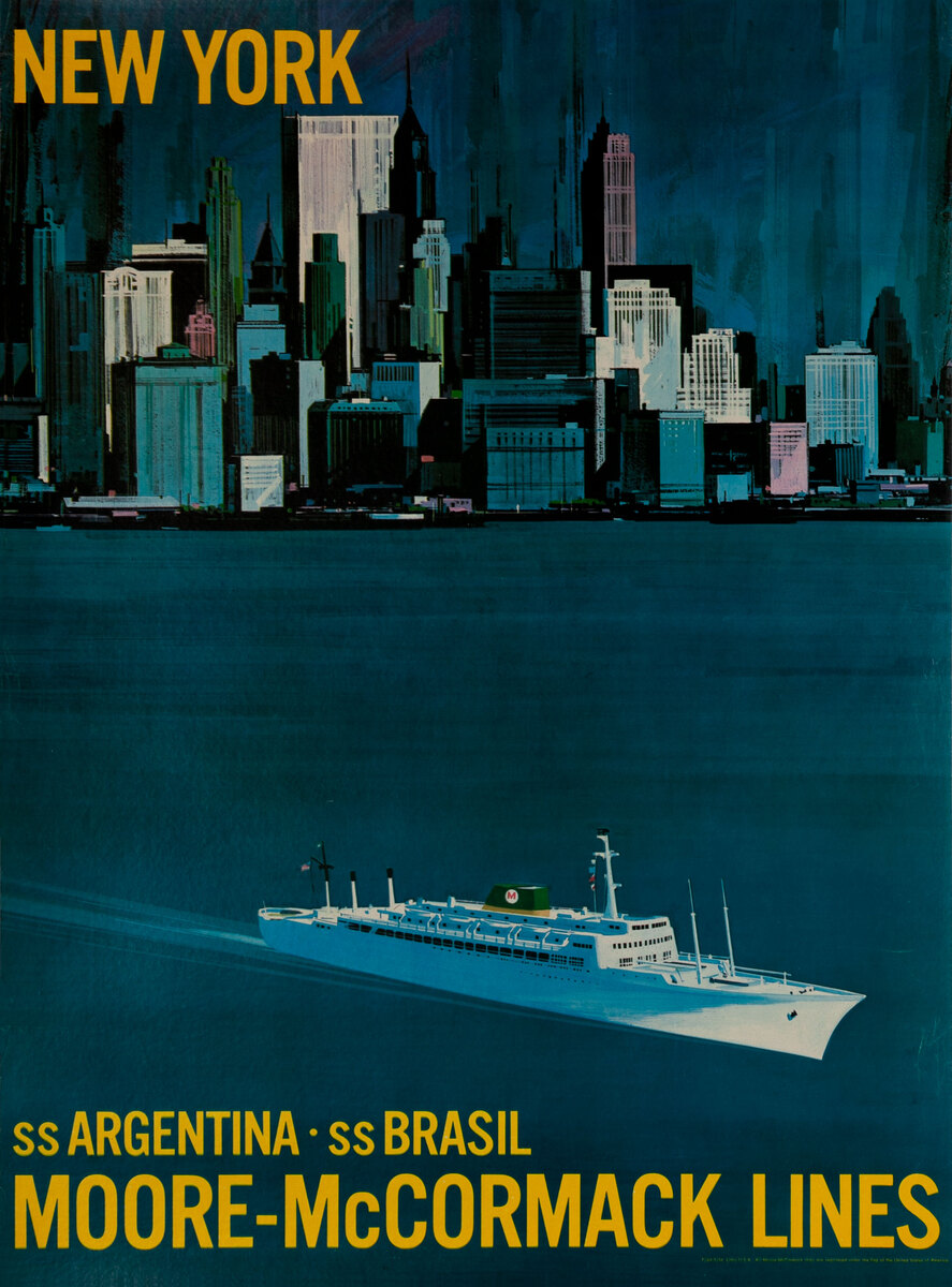 Moore-McCormack Lines Original Travel Poster New York Skyline