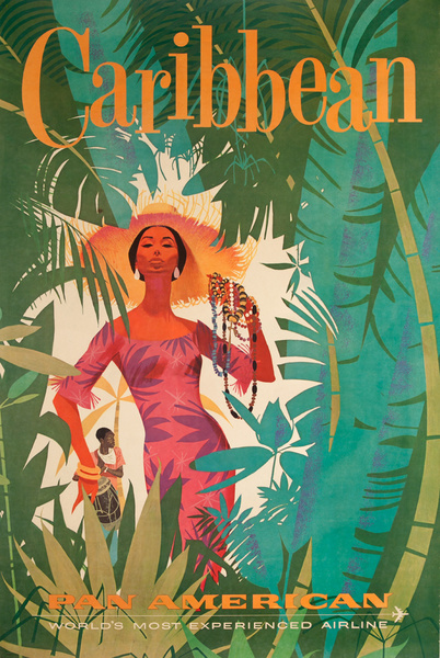 Pan Am The World's Most Experienced Airline, Original Travel Poster Caribbean Woman