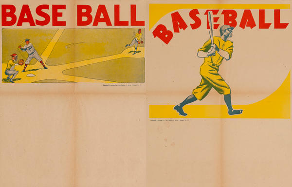 Campbell Print Company Stock Poster, Two Sided, Baseball Batter and Pitcher