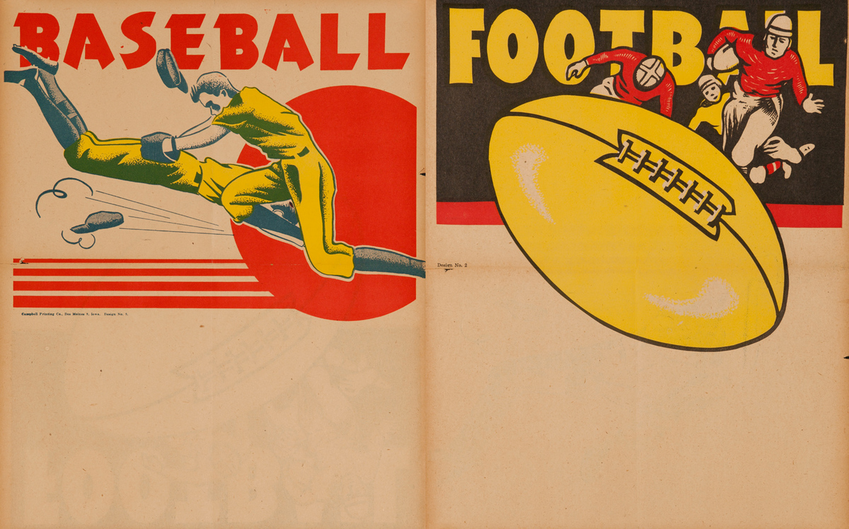 Campbell Print Company Stock Poster, Two Sided Baseball Dive and Football