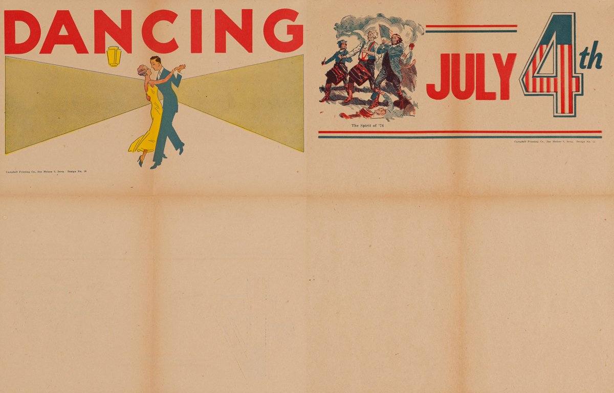 Campbell Print Company Stock Poster, Dancing & July 4th