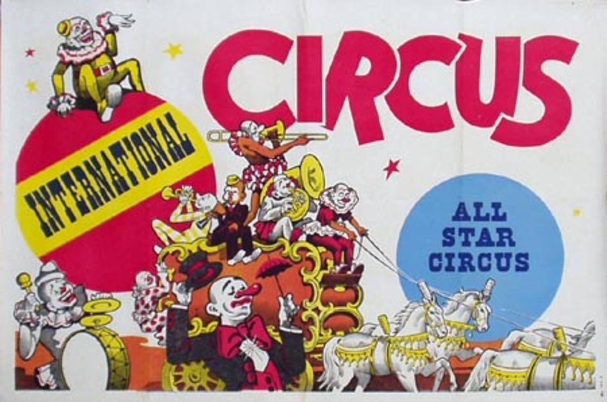 International All Star Stock Original Vintage Circus Poster Clowns on Float