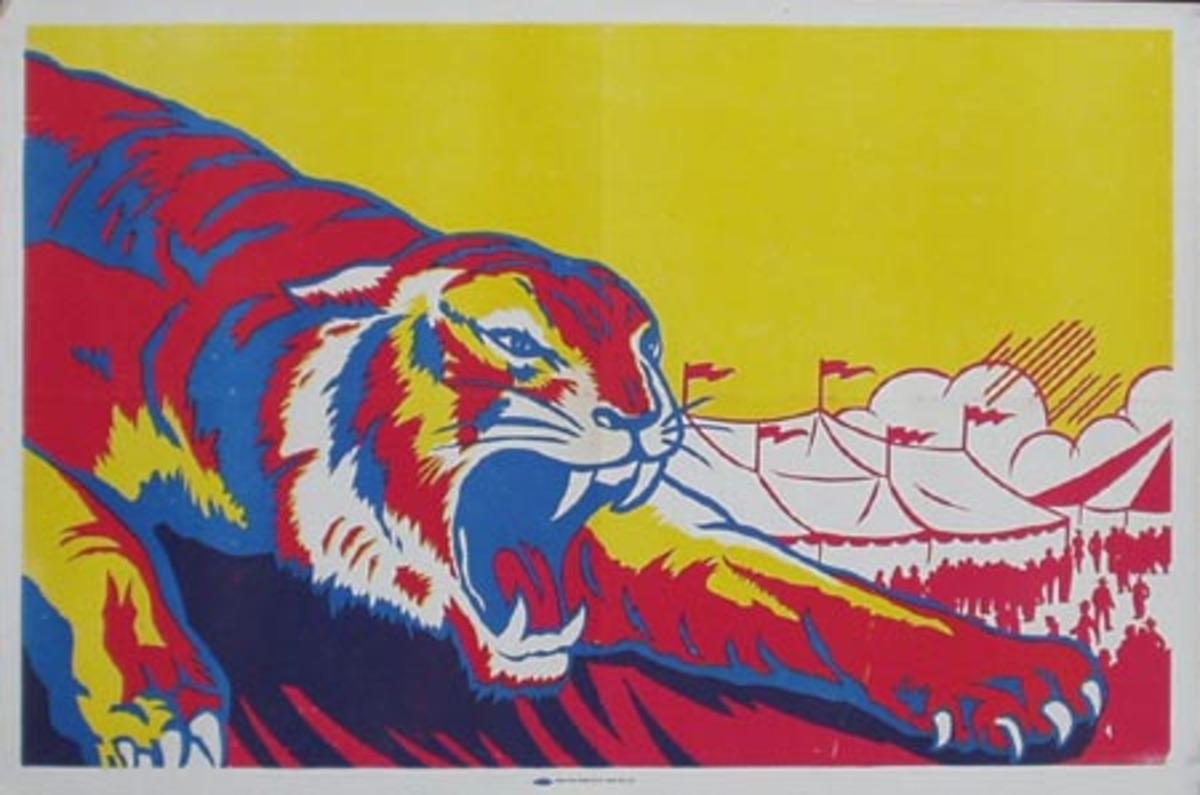 Stock Original Vintage Circus Poster Tiger