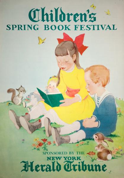 Original Children's Spring Book Festival Poster, New York Herald Tribune, Girl in Yellow Dress
