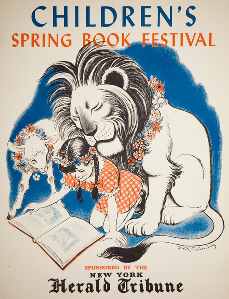 Lion and Lamb, Original Children's Spring Book Festival Poster, New York Herald Tribune