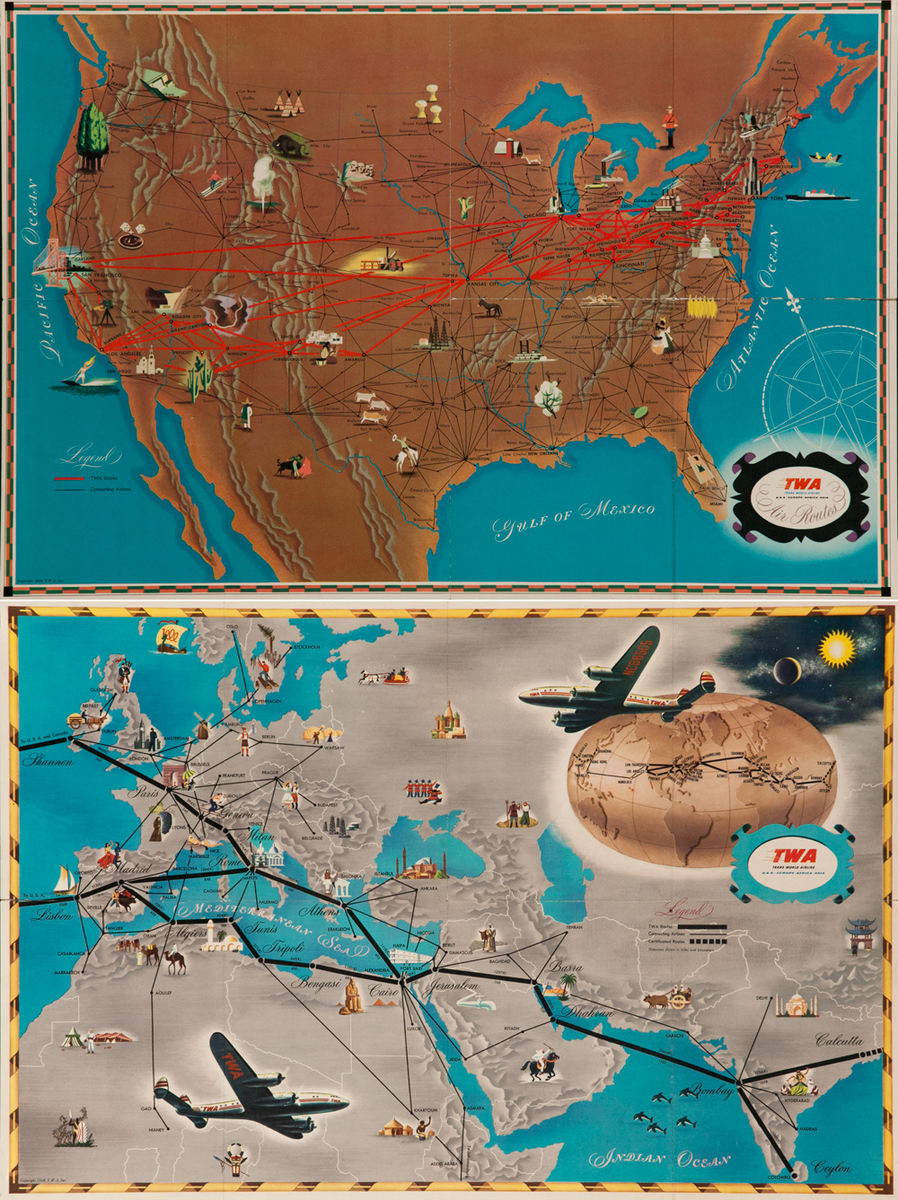 Original 2 Sided TWA Trans World Airlines Route Map