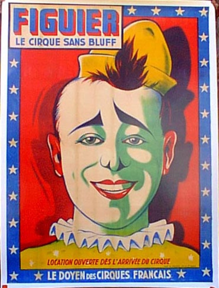 Cirque Figuier Original Vintage Poster yellow hat