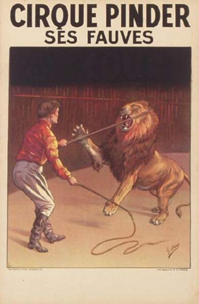 Cirque Pindar Original Vintage Poster lions