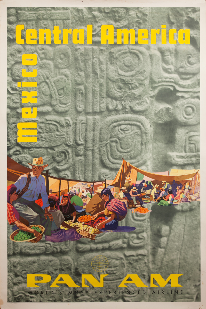 Original Pan Am Travel Poster Mexico and Central America, Market