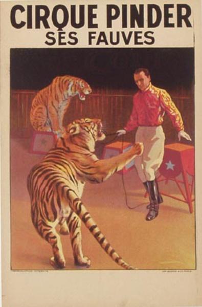 Cirque Pindar Original Vintage Poster tigers