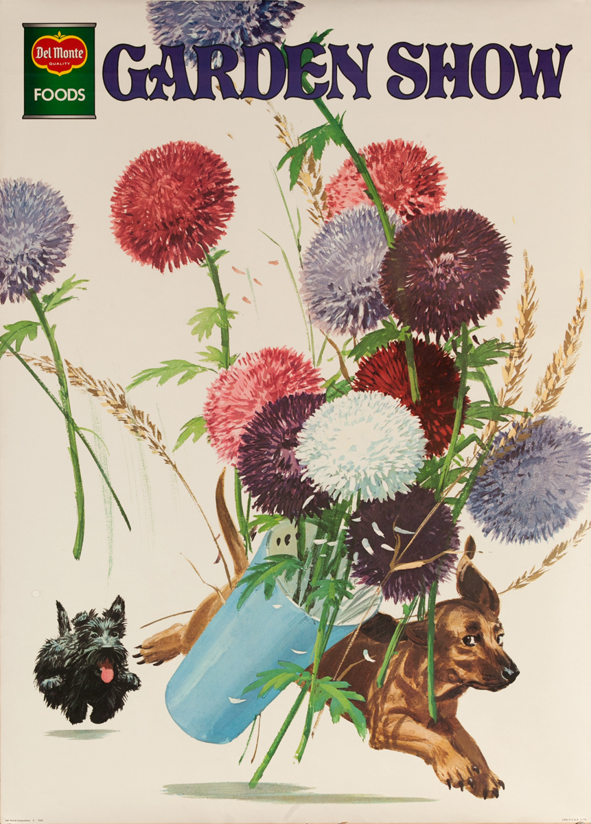 Del Monte Garden Show Original Advertising Poster, dog chase