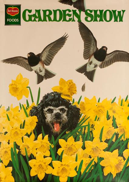 Del Monte Garden Show Original Advertising Poster, Dog in Daffodils