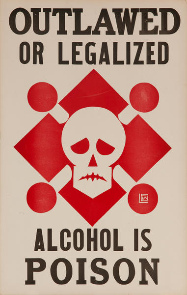 Outlawed or Legalized - Alcohol is Poison Original American Prohibition Poster