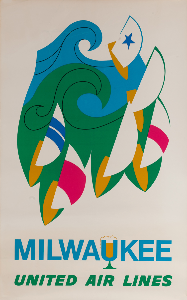 Milwaukee Original United Air Lines Travel Poster Beer and Sailing