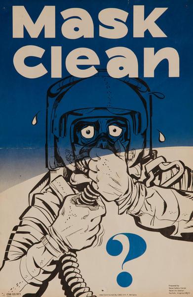 Original Vietnam War Era  Military Flight Safety Poster, Mask Clean