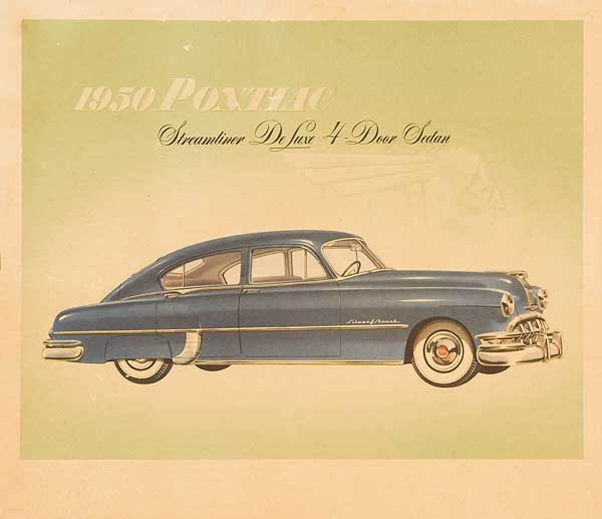 1950 Pontiac Streamliner Deluxe 4 Door Sedan Business Original Showroom Advertising Poster
