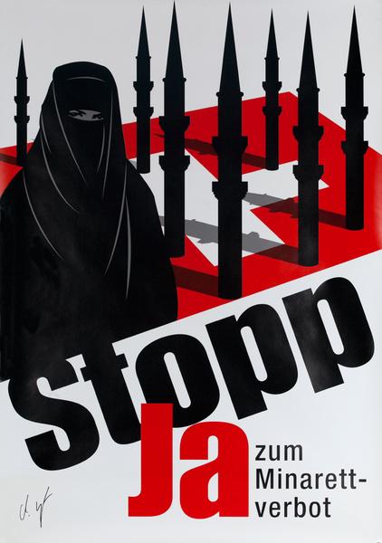 STOP! Ja zum Minarett-verbot. Original Swiss Political Protest Poster