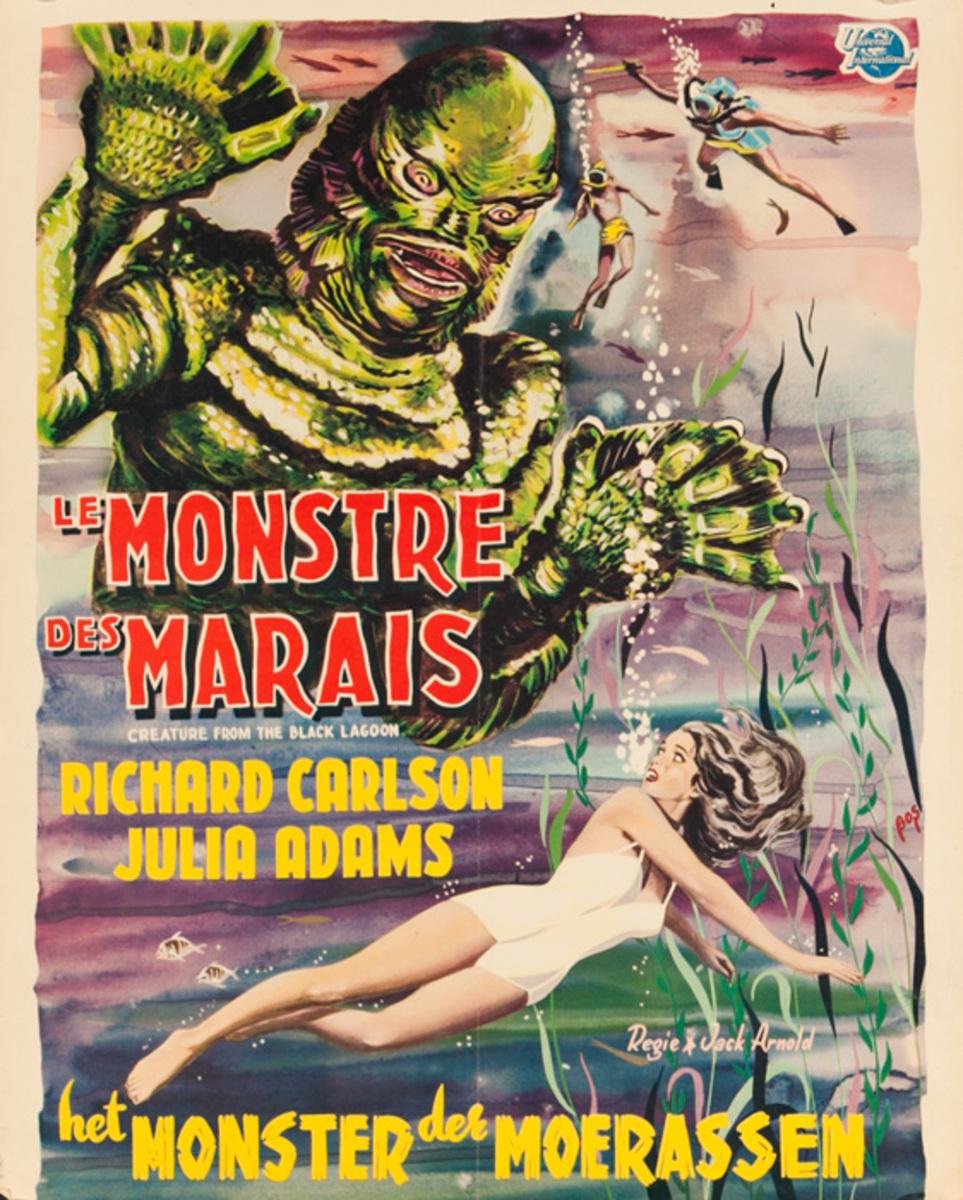 Creature from the Black Lagoon, Original Belgian Release Movie Poster, Le Monstre des Marais
