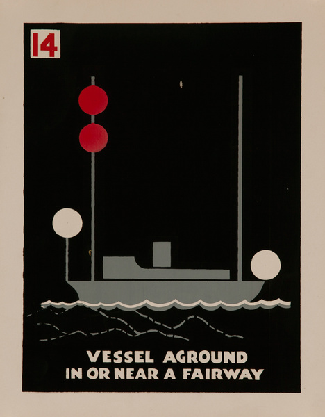 Vessel Aground in Or Near a Fairway, Original American Naval Training Chart, Running Lights