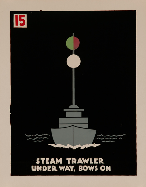 Steam Trawler Under Way, Bows On, Original American Naval Training Chart, Running Lights