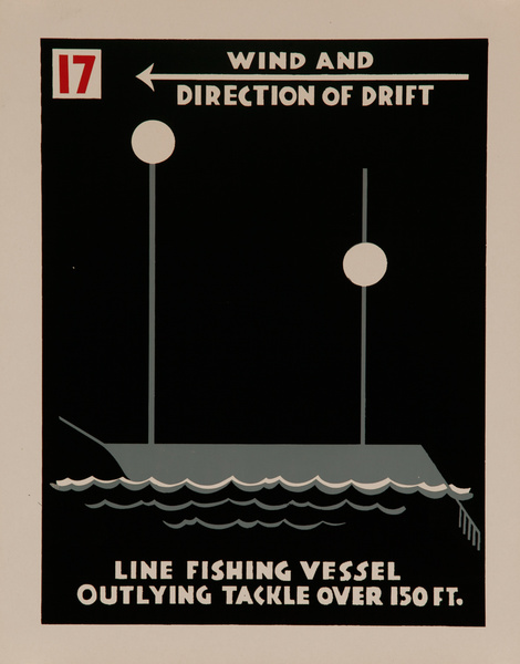 Line Fishing Vessel Outlying Tackle Vessel Over 150 Ft., Original American Naval Training Chart, Running Lights