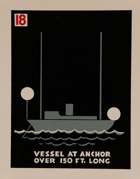 Vessel At Anchor over 150 Ft. Long, Original American Naval Training Chart, Running Lights