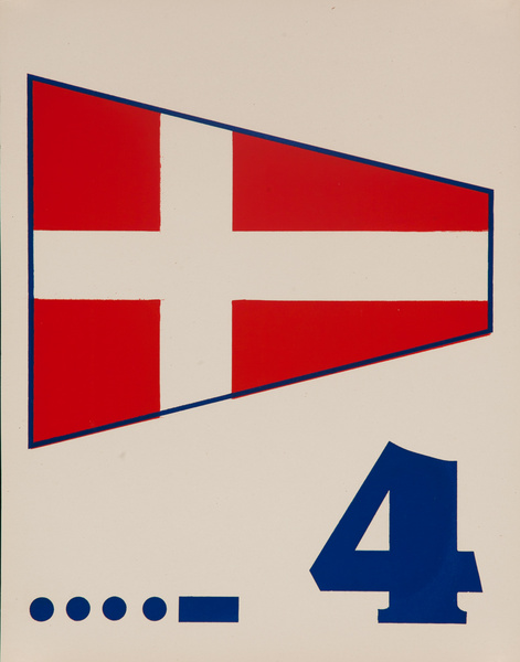Original Naval Pennant Traning Chart Poster, Numeral 4