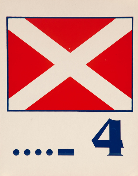 Original Naval Pennant Traning Chart Poster, Numeral 4 Square Flag