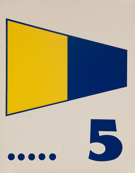 Original Naval Pennant Traning Chart Poster, Numeral 5