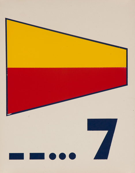 Original Naval Pennant Traning Chart Poster, Numeral 7