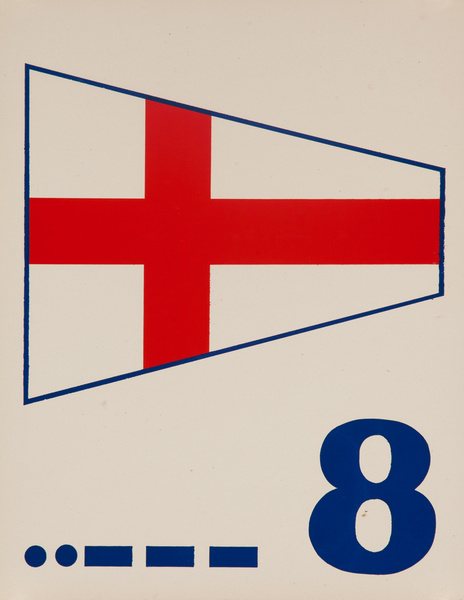 Original Naval Pennant Traning Chart Poster, Numeral 8