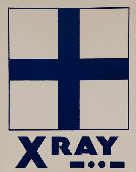 Original Naval Pennant Traning Chart Poster, Alphabet X