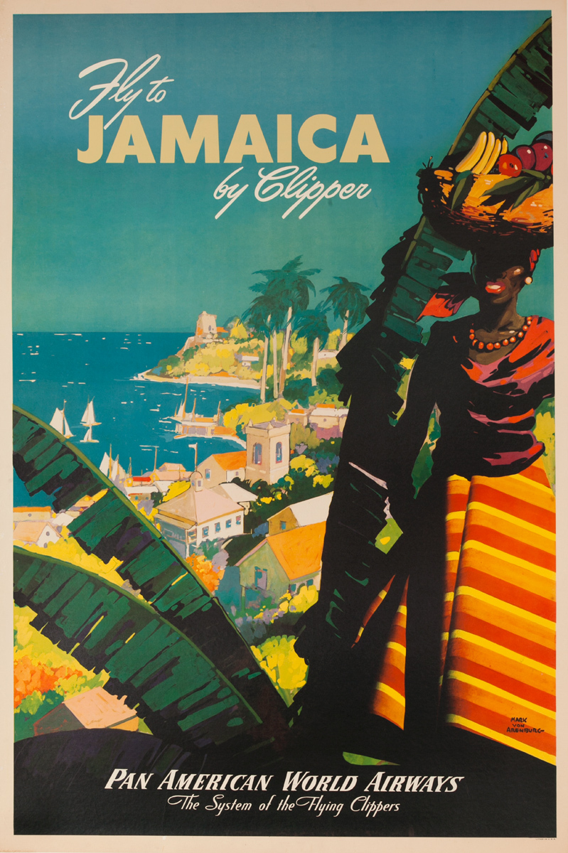 Fly To Jamaica by Clipper, Original Pan American World Airways Travel Poster