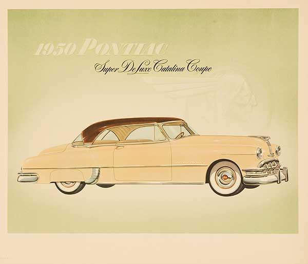 1950 Pontiac Super Deluxe Catalina Coupe Original Showroom Advertising Poster