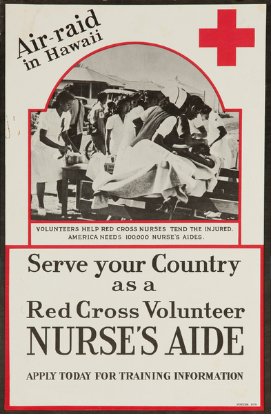 Serve your Country as Red Cross Volunteer Nurses Aide, Original American Red Cross Poster